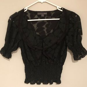 XXI Black Lace Ruffle Scrunch Crop Top Medium